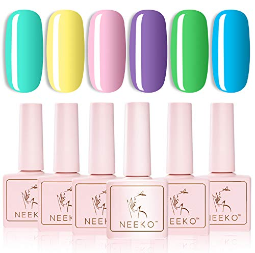 NEEKO Pastel Gel Nail Polish Kit, Macaron Girly Colors Collection, Bright Spring Summer Color Gel Nail Polish, Soak Off UV LED Gel Polish Kit,7ml Each Bottle Nail Art Gifts Box