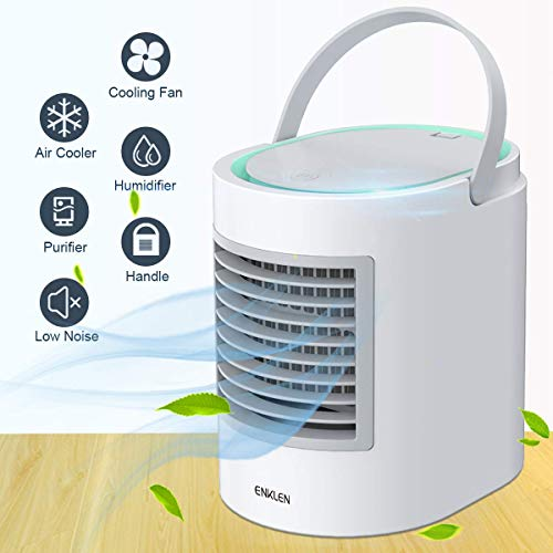 Portable Air Conditioner, Personal Mini Air Cooler, Quiet USB Desk Evaporative Air Cooler Fan with 7 Colors Night Light, Fast Cooling Personal Space, for Home Office Outdoors Travel, Gray