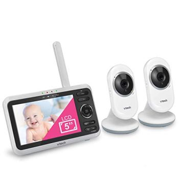 """VTech VM350-2 5"""" Video Baby Monitor with 5"""" Screen, Long Range, Invision Infrared Night Vision, 2 Cameras, Multiple Viewing Options, Two Way Talk, Auto On Screen"""