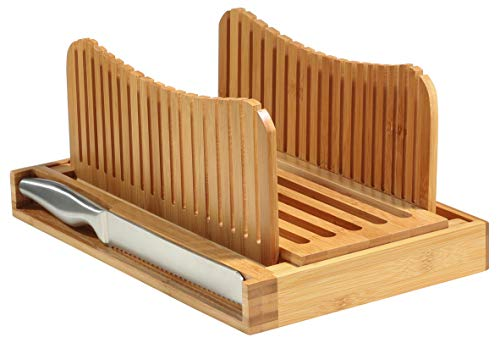 Bambusi Bread Slicer Cutting Guide with Knife - Bamboo Bread Cutter for Homemade Bread, Loaf Cakes, Bagels - Foldable and Compact with Crumbs Tray and Knife