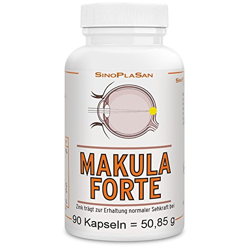 Makula FORTE Lutein/Zeaxanthin, 90 vegane Kapseln, mit Zink, Vitamin C+E, Kupfergluconat