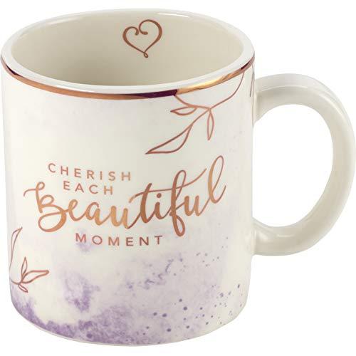 Precious Moments Cherish Mug, Cream/Rose Gold/Purple