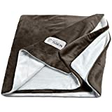PetFusion Premium Pet Blanket, Multiple Sizes for Dogs & Cats. [Reversible Micro Plush]. 100% Soft Polyester, Medium (44 x 34), Brown