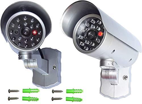 2 telecamere finte Dummy, telecamera di sorveglianza con LED lampeggiante, sensore di movimento in alloggiamento resistente alle intemperie, telecamera di sicurezza Fake CCTV per interni ed esterni.