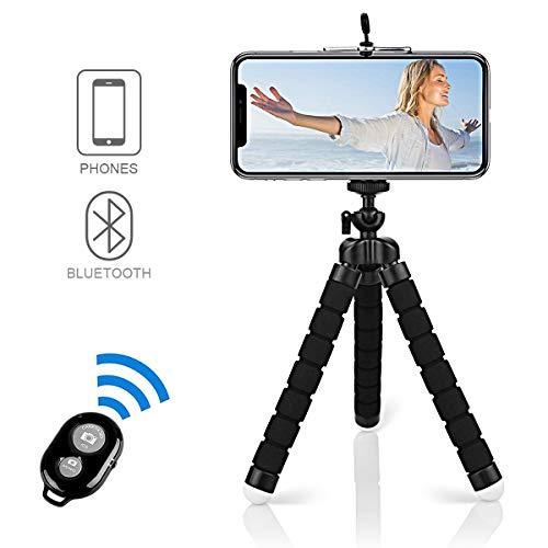 Alfort Trépied Portable, Mini Trépied Flexible Bluetooth avec Télécommande 360°avec Vis 1/4' pour iPhone 8/8 Plus/7/7 Plus,Samsung Galaxy S7/S7 Edge,Huawei,Sony Xpéria,et etc, jusqu'à 5.5'