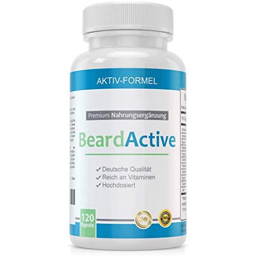 BeardActive – Complesso multivitaminico e minerale per una maggiore crescita della barba - 120 capsule prodotte in Germania - altamente dosato - con biotina, vitamina B2 e B12, calcio e molto altro