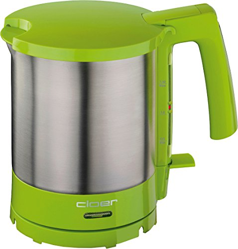 Cloer 4717-4 Wasserkocher, 2000 W, Trockengeh- und Überhitzungsschutz, innen liegende Füllmengenmarkierung, Grün, Edelstahl, 1.5 liters