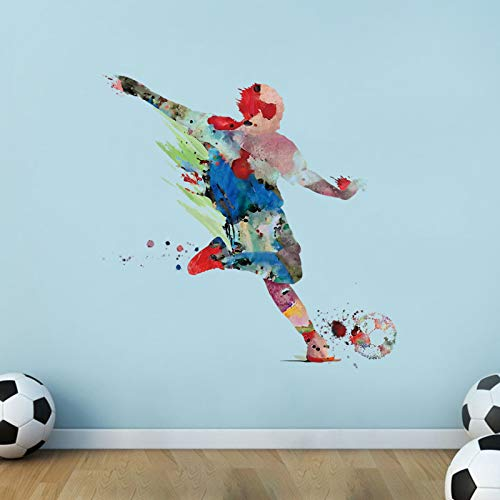 decalmile Watercolor Sports Wall Decals Soccer Player Shoot Wall Decals Boys Bedroom Classroom Playroom Wall Decor