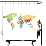 Travel Shower Curtain World Map Colorful High School Classroom Map with Names of Countries Educational Print Shower Curtain with Hooks W108x72L Multicolor