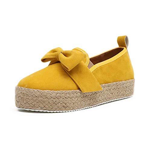 Minetom Mujer Zapatillas Moda Alpargatas Plataforma Arco Cuña Tacón Plano Loafers Antideslizante Cómodo Lindos Zapatos Amarillo 40 EU