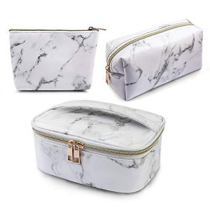 MAGEFY 3Pcs Makeup Bags Portable Travel Cosmetic Bag Waterproof Organizer Multifunction Case with Gold Zipper Marble… 35