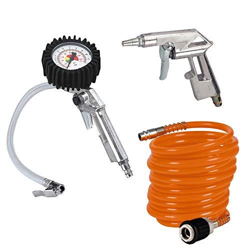 Einhell 3-tlg. Druckluftset Kompressor Zubehör (für alle handelsüblichen Kompressoren bis mind. 8 bar, inkl. Ausblaspistole, Reifenfüller, 4m Druckluftschlauch, Schnellkupplung)