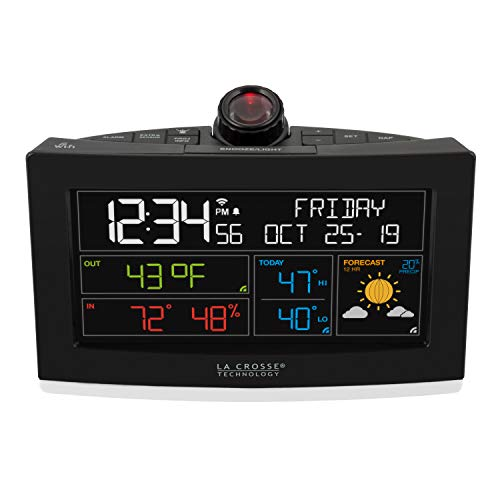 La Crosse Technology C82929-INT WiFi Projection Weather Alarm Clock, Pack of 1, Black