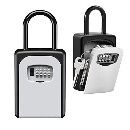 Key Lock Box Wall Mounted, Portable Lock Box for House Key, 5 Key Capacity, Weatherproof Resettable Code House Key Safe Security Lock Box for Outside Realtors Garage Spare