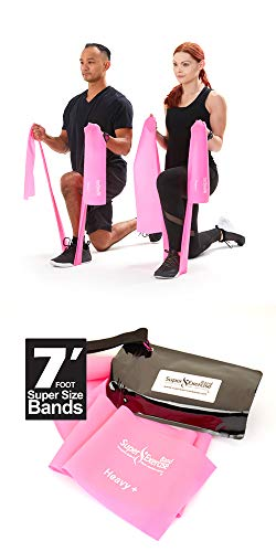 Flat Resistance Bands. Super Exercise Band USA. 7 ft. Long Latex Free. Door Anchor, Carry Pouch, E-Book Included. for Home Gym, Strength Training, Physical Therapy, Yoga, Pilates, and Chair Workouts.