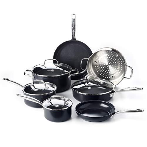 GreenPan Prime Midnight Healthy Ceramic Nonstick, Cookware Pots and Pans Set, 11-Piece, Black