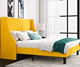 Einfach Queen Size Platform Bed Frame with Wingback Headboard / Fabric Upholstered Mattress Foundation with Wooden Slat Support, Light Yellow