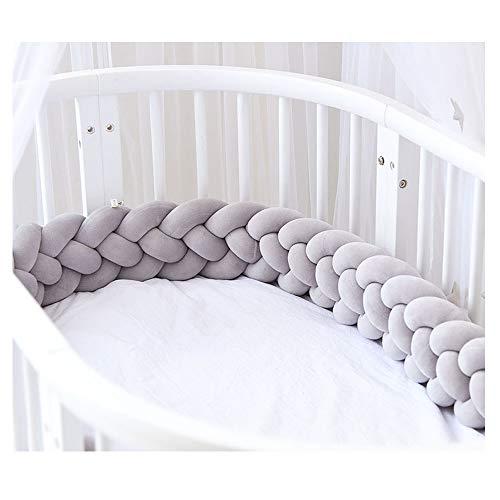 Bettumrandung,Baby Nestchen Kinderbett Stoßstange Weben Bettumrandung Kantenschutz Kopfschutz für Babybett Bettausstattung 220cm (Grau)