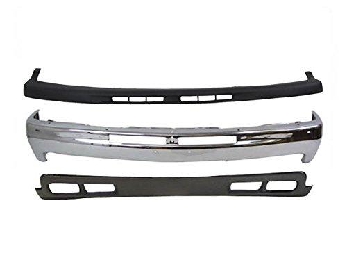 For 99-02 Silverado 1500 Front Bumper Up Cap Face Bar Chrome Valance W/Fog Hole GM1002376 GM1051103 GM1092167