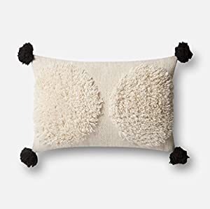 """Shaggy wool front with corner pompons with cotton back Size 13"""" x 21"""" Made in India"""