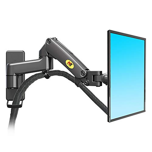 NB North Bayou Monitor Wall Mount Bracket Full Motion Articulating Swivel for 17-27 Inch Monitor with Gas Spring (Black Double Extension) F150-B