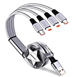 Amuvec Câble Multi USB, 4 en 1 Retractable Multi Chargeur USB Cable Rapide...