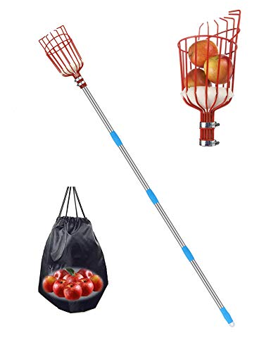 HeroShow Fruit Picker Tool - 13FT Stainless Steel Extension Pole with Twist-on Basket, Lightweight Fruit Picking Equipment for Getting Fruits