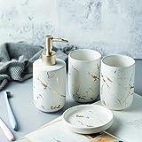 Ensemble d'accessoires de salle de bain en céramique - 4 pièces - Ensemble complet...