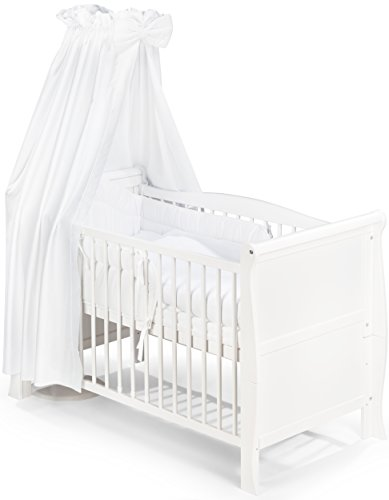 KOKO Babybett Gitterbett Kinderbett LILLY Komplett-Set 120x60 cm weiss