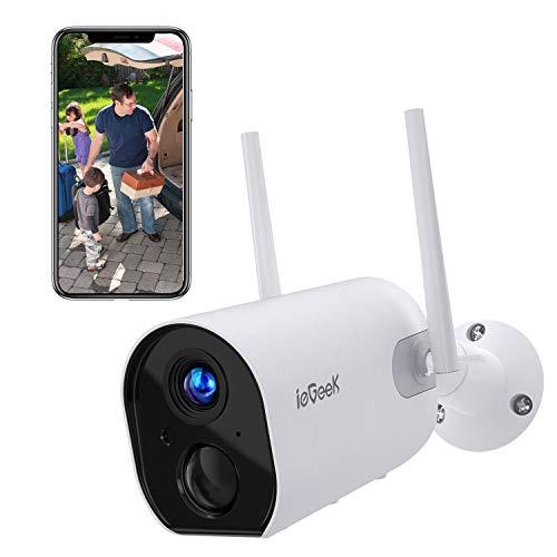 ieGeek Telecamera WiFi Interno/Esterno Senza Fili FHD 1080P Videocamera di Sorveglianza con 15000mAh Batteria, Rilevazione PIR, Audio Bidirezionale, Visione Notturna, Compatibile con Scheda SD/Cloud