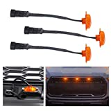 MotorFansClub 3PCS Amber LED Grille Running Lamps, Front Bumper Hood Grille LED Light for Ford F150/F250 Raptor 2004-2014 & 2014-up (Grille Not Included)