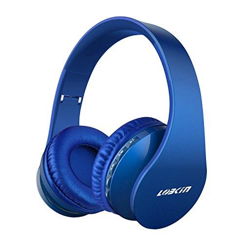 LOBKIN Cuffie Pieghevoli Bluetooth Wireless, Cuffie Stereo Over-Ear 4 in 1, Cuffie con Microfono, Micro SD/TF, Lettore MP3, Radio FM per iPhone/iPad/Android/Telefono Cellulare/Tablet/PC/TV (Blu)