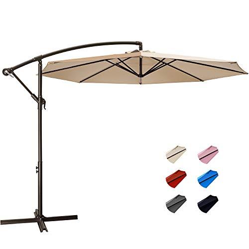 KITADIN Offset Umbrella - 10Ft Cantilever Patio Hanging Umbrella,Outdoor Market Umbrellas with Crank Lift & Cross Base (10 Ft, Beige)