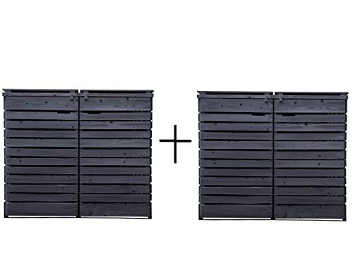 Lukadria Mülltonnenbox Mülltonnenverkleidung Holz 120 L - 240 L anthrazit inkl. Rückwand vorimrägniert vormontiert Müllcontainer Mülltonnenschrank Mülltonne Alster (4 Tonnen)