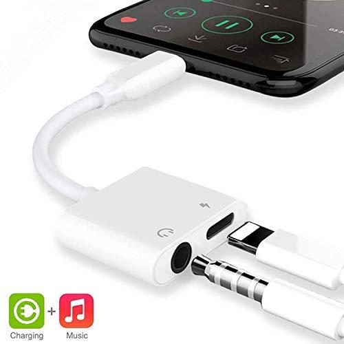 Adattatore Jack per Cuffie per iPhone 8 Adattatore per cuffie 3,5mm Adattatore AUX Audio cavo per iPhone 7/7Plus/8/8Plus/X/XS Max/XR/11 2 in 1 doppio convertitore splitter Supporto Tutto iOS - Bianco