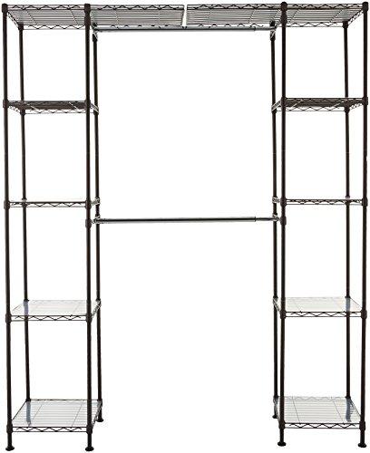 AmazonBasics Expandable Metal Hanging Storage Organizer Rack Wardrobe with Shelves, 14'-63' x 58'-72', Bronze