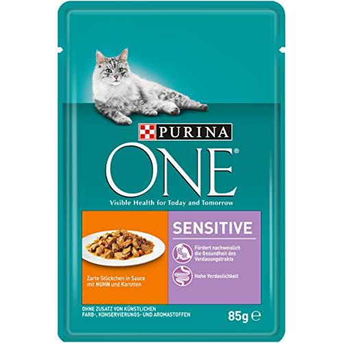 PURINA ONE SENSITIVE Katzenfutter nass, zarte Stückchen in Sauce mit Huhn, 24er...