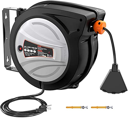 Extension Cord Reel, 50ft Retractable Extension Cord + 4.5ft/14AWG/SJTOW Rated Cord, Cord Holder with Swivel Bracket, Overload Protection, Auto Retraction and Triple Socket for Wall/Ceiling Mounting