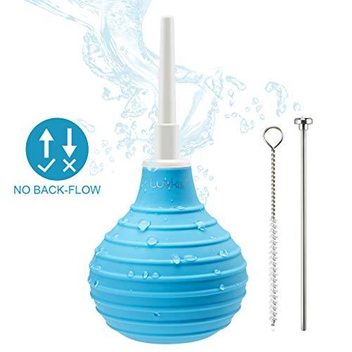 Luvkis 250ml Silikon Analdusche Set Anal & Vaginal Dusche mit Auswerferstift und Reinigungsbürste Klistierspritze für Sie & Ihn