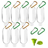 Travel Bottles, Empty Plastic Bottles 50ml /1.7Oz with Flip Cap, Refillable Small Bottles Hand Sanitizers Pocket Size Containers Leak Proof & Portable with -10 Carabiners /1 Collapsible Funnel