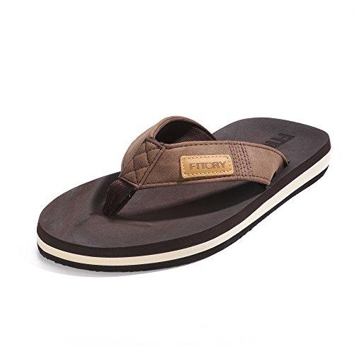 FITORY Chanclas de Hombre para la Playa Zapatos Planos de Verano para Piscina Casual Marrón Talla 48 EU