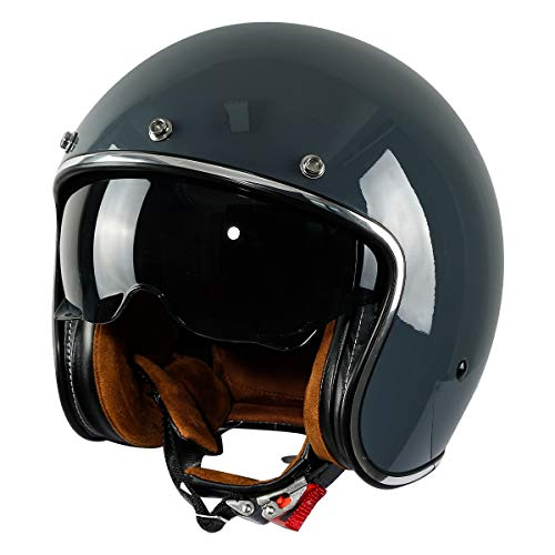 XFMT DOT Retro Style Motorcycle Open Face 3/4 Helmet with Sun Visor for Chopper Scooter Cruiser (Gloss Gray, X-Large)