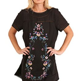 Umgee Women's Bohemian Embroidered Short Sleeve Dress or Tunic