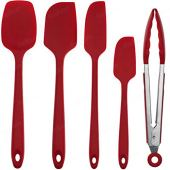 Set of Spatulas and Silicone Handle for Confectionery Color: Red