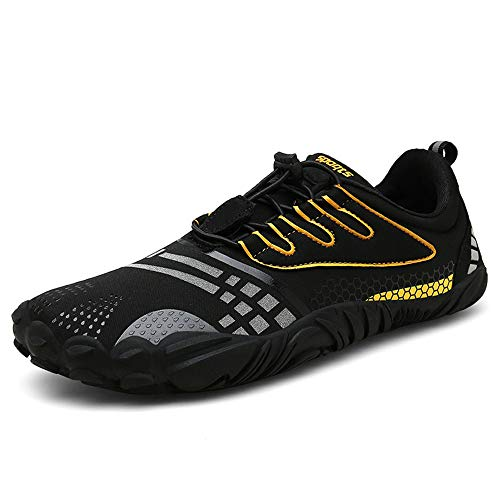 FOGOIN Barfußschuhe Herren Damen Outdoor Fitnessschuhe Laufschuhe Minimalistische Sneaker im Sommer Gr.37-47, Schwarz, 41 EU