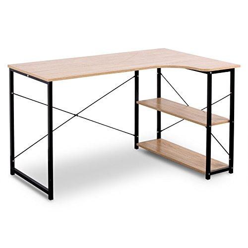 WOLTU TSB06hei Schreibtisch Computertisch Büromöbel PC Tisch Bürotisch Arbeitstisch aus Holz und Stahl, mit Ablage, ca, 120x74x71,5 cm