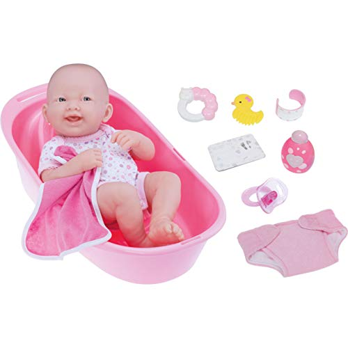 LA NEWBORN 8 Piece Deluxe BATHTUB GIFT SET, featuring 14' Life-Like All Vinyl Smiling Baby Newborn Doll, Pink