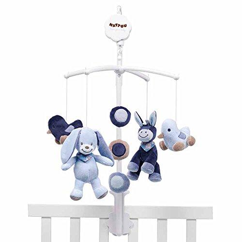 """Nattou Mobile mit Spieluhr Alex und Bibou, Sanftes Wiegelied \""""La-Le-Lu\"""", 7 x 31 x 37 cm, Blau"""