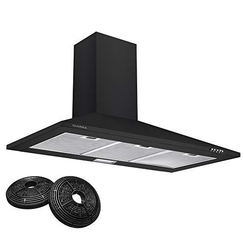 CIARRA CBCB9201 Cappa Aspirante 90 cm 370 m/h Cappa da Cucina,in acciaio INOX, 3 gradini, filtro in alluminio, tubo di scarico (Nero)