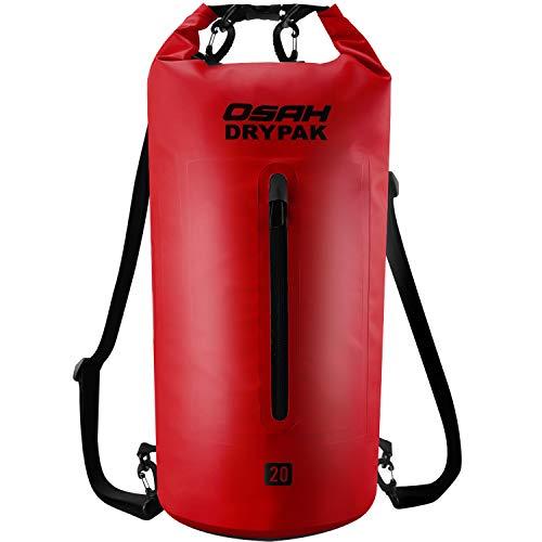 OSAH DRYPAK Dry Bag Wasserdichter Packsack wasserdichte Tasche Sack Beutel Lang Schulter Verstellbarer Schultergurt für Kajak Boot Angeln Rafting Schwimmen Wassersport Treiben (Rot, 30L)